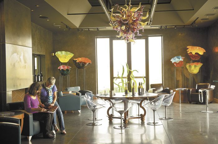 Long Shadows' Walla Walla tasting room features Dale Chihuly glass artwork.