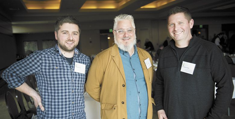 Lingua Franca winemaker Thomas Savre, wine critic Patrick Comiskey and winemaker Josh Bergström at the 2018 Chardonnay Celebration, hosted at The Allison Inn in Newberg. ##Photo by Andrea Johnson