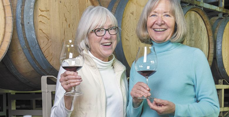 Carol Stalp (left) and Billie Olson toast the new year during their visit to Elizabeth Chambers Cellar. ##Photo by Rusty Rae