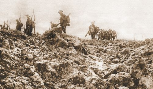 Soldiers on the move through rough French terrain during World War I. ##Photo Provided