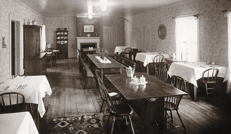 Old photo of the empty dining room at Wolf Creek Inn & Tavern in the Applegate Valley.