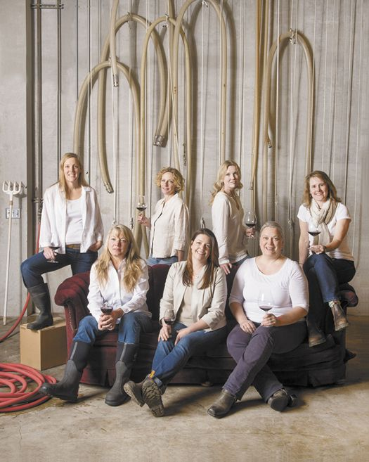 From left: (front) Linda Donovan, Luisa Ponzi, Amy Wesselman, (back) Anna Matzinger, Isabelle Dutartre, Kelley Fox, Lynn Penner-Ash. The seven winemakers gather at Penner-Ash Wine Cellars near Newberg for a glass of wine and a fun photo shoot.