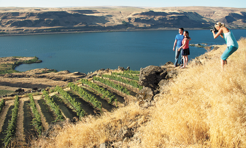 Johnson photographs a couple overlooking Maryhill estate in the Columbia Gorge. ##Photo by Robert Holmes