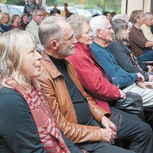 Oregon Wine Walk of Fame 2014 honorees Pat and Joe Campbell listen to comments during the induction ceremonies at Dundee Bistro. The Campbells founded Elk Cove Vineyards in 1974. ##Photo by Marcus Larson