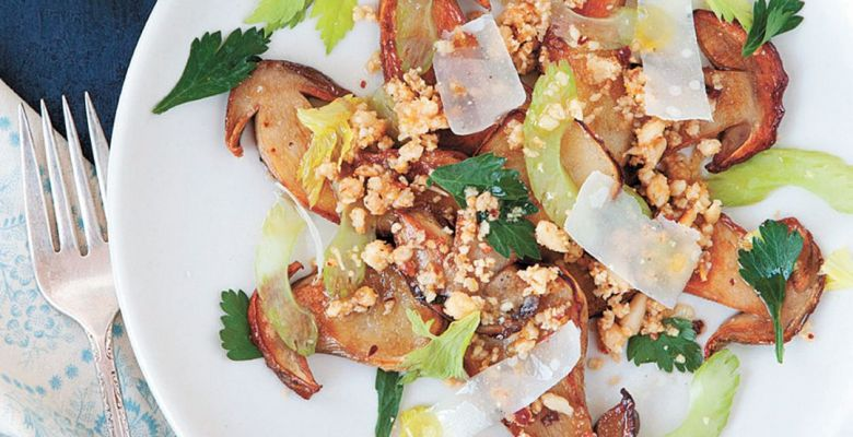 Porcini Salad with Pine Nuts and Lemon Salt ##Photo courtesy of Andrews McMeel Publishing