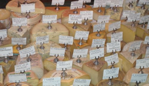 An example of the variety of cheeses available at Cheese Bar.