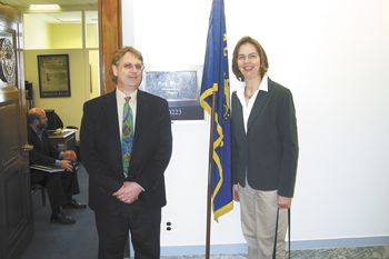 Kevin and Carla Chambers at the entranceto Sen. Ron Wyden's office in Washington, DC. The couple has lobbied extensively on behalf of the Oregon wine industry.Photo provided